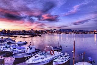 Blue Hour in the Grao de Castellón fishing harbor. Spain
