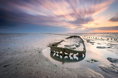 The Shipwreck in Wierum (from a different angle and a longer exposure) (Alona Azaria) Tags: netherlands shipwreck sunrise friesland wadden waddenzee landscape seascape seaside lee filters nikon nikkor d800 160350 sky sea water longexposure mudflats