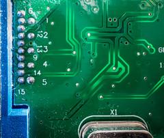 Macro Mondays - Inside Electronics Theme (sephrocker) Tags: macro insideelectronics macromondays electronics solder green blue circuit