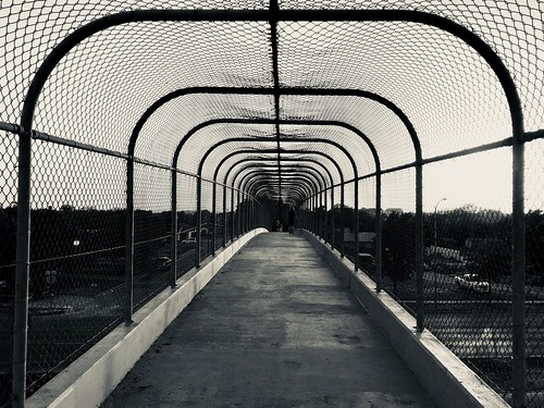 Pedestrian bridge symmetry in B&W #jcutrer