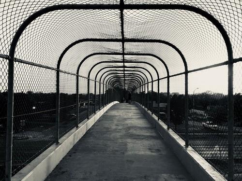 Pedestrian bridge symmetry in B&W #jcutrer