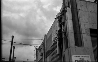 architectural forms, Gas Up service station, dusk, West Asheville, NC, Ercona II, Kodak TMAX 400, Ilford Ilfosol 3 developer, 7.4.18