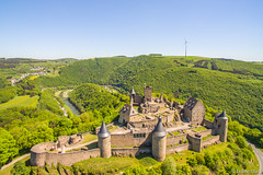 Castle Bourscheid (✦ Erdinc Ulas Photography ✦) Tags: castle bourscheid luxembourg ancient wall tower brick stone medieval europe forest green hill mountain defence landmark historic windmill dji phantom advanced water river nature road ruins aerial drone landscape view