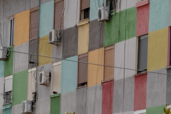 Thank you, 1960's...not! (Leaning Ladder) Tags: elbasan albania building colors windows canon 7dmkii leaningladder