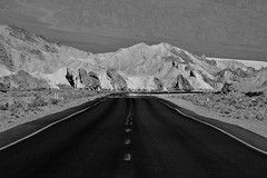 Death Valley Mirage (Harald Philipp) Tags: outdoors rural panorama sand landscape desert dry monochrome outback natural scenic mountain hill road mirage heat hot holiday vacation tourism tourist exotic destination travel adventure beautiful romantic mysterious nikon nikkor d810 light sun day zabriskiepoint deathvalley unitedstates california usa park nationalpark bw blackandwhite