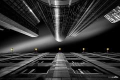 Roentgenium (Holger Glaab) Tags: frankfurt frankfurtammain maintower buildings building skyscraper city urban blackandwhite monochrome colorkey colourkey lamps fineart