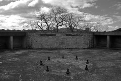 Lithgow AA 19 (PhillMono) Tags: nikon dslr d7100 australia new south wales ruin relic history heritage lithgow blue mountains artillery brick base empty sky tree cloud black white monochrome sepia perspective creative world war 2 two