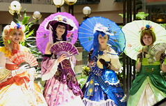 cpa2018-0623 (skippyclese) Tags: cosplay america 2018 cosplayamerica cosplayers love live lovelive anime idol colors sunlight gowns girls nc north carolina green blue purple red orange trees plants