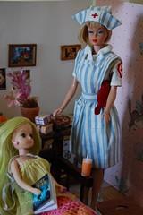 British Nurse (Emily1957) Tags: vintage barbie licca vintageamericangirlbarbie mommymadevintagebritishnursesuniform nurse doll dolls light naturallight nikond40 nikon kitlens liccafriend kira xelhasdollies xelha13 stripes vintagebritishnurse