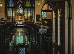 Pray (Photo Alan) Tags: reflection church pray lights light windows door montreal city cityscape cityofmontreal canada leica leicam10 leicasummicron35mmf20 indoor people street streetpeople