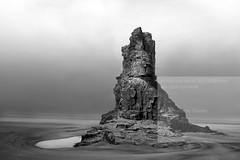 Lonely Rock (annelliese.stacey) Tags: rock beach sea cornwall cornish lonley black white south west coast coastal picfair godrevey watermark effective landscape solitude alone bw landscapes photographer nikon d3300 sigma