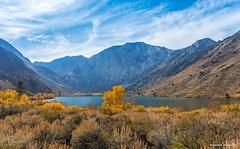 October in the Sierras (Photosuze) Tags: easternsierras lake water trees pines mountains aspens sky clouds landscape california autumn fall