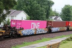Pretty in Pink ONE Container (kschmidt626) Tags: union pacific train illinois rochelle park railroad graffiti bnsf burlington diamond