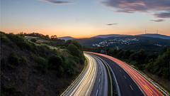 Autobahn (chrisb.foto) Tags: autobahn dillenburg hessen deutschland de highway sunset sonnenuntergang lichter landscape langzeitbelichtung landschaft landspace lahndillkreis lahndill a45 wolken sky cloud clouds himmel orange
