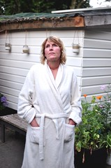 the bathrobe series 8 (dorofoto) Tags: woman portrait standing garden summer evening bathrobe