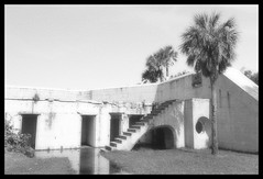 Fort Dade, Egmont Key (J. Parker Natural Florida Photographer) Tags: blackandwhite retro grainy dxo dxofilm egmontkey pinellas hillsborough manateecounty tampa tampabay stpetersburg fort fortdade history historic old fortification abandoned derelict decay florida centralflorida monochrome monochromatic