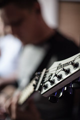 strings attached (allanodyne) Tags: music musician guitar player mutenation band recording ibanez bokeh portrait white strings headplate michael man beautiful sensual focus guitarist gitarre studio