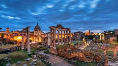The Roman Forum, Rome (Neha & Chittaranjan Desai) Tags: roman forum rome roma italy history architecture city cityscape twilight blue hour travel julius caesar empire ruins