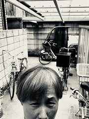 iphone photo 1147: No more desire to work in this record high temperature. Somewhere in Tokyo, 23 Jul 2018 (megumi_manzaki) Tags: iphone selfy summer backyard bycicle blackandwhite