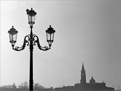 (frscspd) Tags: 66710001 20180101 pentaxmx pentax mx takumar takumar58mm 58mm ilford ilfordxp2 ilfordxp2400bw xp2 film filmgrain blackandwhite monochrome venice venezia lamp lamppost pigeon