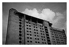 Abandoned hotel (haidem3) Tags: urban abandoned building concrete soviet sovietarchitecture architecture cityscape clouds bw hotel kaunas