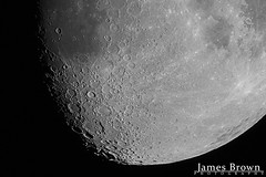 Waxing Gibbous Moon (79.3% Illuminated) (J. Brown Photography) Tags: james brown photography sony alpha skymax 102 skywatcher luna black white bw moon surface astro astrophotography lunarphotography
