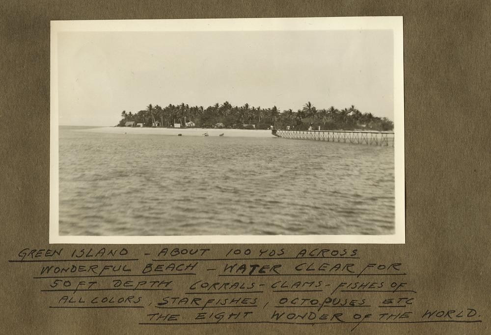 View of Green Island and the jetty as seen from the water, October 1932
