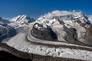 Gornergletscher, Liskamm,  Schwärzegletscher, Breithorn, Breithorngletscher