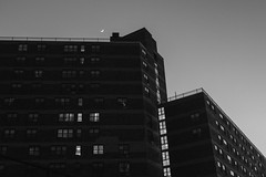 Twilight Sets Over Atlantic Terminal 2 (Zach K) Tags: night twilight transition nighttime moon sky darkness sunset light bw black white housing residential multifamily nyc brooklyn ny day becomes fujifilm fuji x100f acros sliver crescent glowingsky golden hour or just past that time