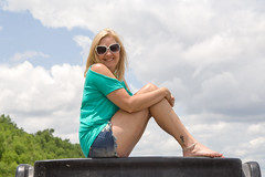 #TDIH - June 28, 2014 (WindJammer Photo) Tags: june 2014 canon 60d 2470mml outdoor portrait tdih gator farm water sand beach river denim shorts sunglasses anklet beauty beautiful gorgeous sexy blonde wife legs smile