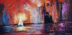 """""""City Harbour at Seven"""" (donnacoburn1) Tags: appmashing expressionism experimental drawing metabrush procreate snapseed water colours brushes safe public creative sailboats boats city apps apple pencil donnacoburn artwork digitalartworks cityscape colourful mobileart art imagination"""