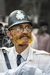 Anachronism (Anindo Ghosh) Tags: man outdoor policeman pc bobby vintagecarrally mumbai bombay india cosplay costume moustache maharashtra in moustace henna
