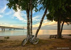 Classic Mackinac (mswan777) Tags: sunset park bicycle bike 1020mm sigma d5100 nikon nature outdoor blue orange scenic cloud sky straits michigan evening bridge mackinac suspension shore seascape water