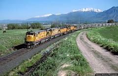 On the Road to Skyline (jamesbelmont) Tags: railway unionpacific riogrande drgw coal intermountainpower sutro spanishfork utah utahvalley mttimpanogos utahlake ge c307 hoppers
