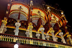 Balconies - Palau de la Música Catalana (Fnikos) Tags: building architecture palau music musica música wall decoration decor column window door light night nightview nightshot outdoor