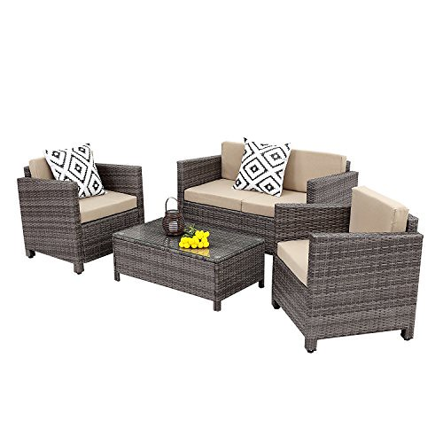 Wisteria Lane Outdoor Patio Furniture Set, 5 Piece Rattan Wicker Sofa Cushioned with Coffee Table, Grey