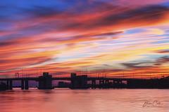 SkyFire (Redux) (NYRBlue94) Tags: captree longisland robertmoses drawbridge bridge red blue yellow orange pink color radiant vibrant water atlantic ocean causeway fireisland