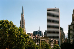 Vue sur Transamerica Pyramid & Bay Bridge / Powell St & California St - San Francisco, Californie (Ludovic Macioszczyk Photography) Tags: vue sur transamerica pyramid bay bridge powell st california san francisco californie canon ae1 135 kodak portra 400 iso mai 2018 city étatsunis © ludovic macioszczyk usa film argentique lumière 35mm couleurs colors voyage vacances grain area road street sf amérique district photography analog ville