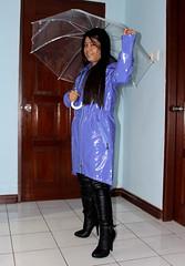 ElieTahari  Asymetric Rain Jacket (johnerly03) Tags: erly philippines filipina asian fashion raincoat shiny clear long hair thigh length high heel boots
