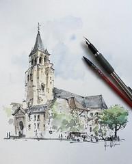 Saint-Germain-des-Pré, Paris (alexhillkurtzart) Tags: sketch urbansketch usk paris
