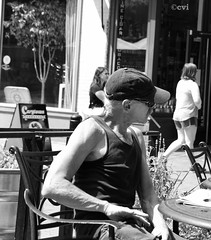 Got a light (creepingvinesimages) Tags: hmm monochrome bw blackandahite downtownmall charlottesville virginia outdoors cigarette nikon d7000 pse14 topaz