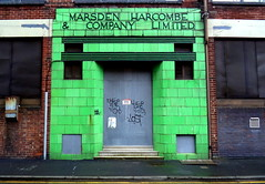 Marsden Harcombe and Co Ltd, Manchester (Tony Worrall) Tags: geometric abstract pattern texture symmetry color cool nice colours colourful britain english british gb capture buy stock sell sale outside outdoors caught photo shoot shot picture captured city england regional region area northern uk update place location north visit county attraction open stream tour country welovethenorth nw northwest green relic shop business old past closed forgotten decay artdeco retro tiles marsdenharcombeandcoltd entrance portal doorway door