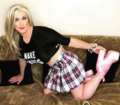 Hanging around (claudiatmuk) Tags: crossdress makeover plaid tartan pink heels