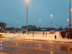2018-04-16 06.28.01 (djp3000) Tags: snow streetlamps streetlights icestorm2018 rain sheppardweststation downsviewstation northyork nightshot