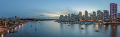 Yaletown and False Creek Panorama (halsaxm) Tags: yaletown falsecreek downtown vancouver britishcolumbia bc canada cambiebridge bluehour evening panorama panoramic night cityscape nightscape skyline water reflections marina dock docks boats