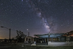 Milky Way Over A Somewhat Modern Ghost Town (slworking2) Tags: california unitedstates us abandoned urbex ruralex rural milkyway desert sandiego decay closed night longexposure