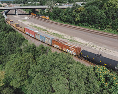 SOUTHERN PACIFIC (◀︎Electric Funeral▶︎) Tags: omaha midwest councilbluffs nebraska lincoln fremont desmoines kansascity kansas missouri iowa graff graffiti paint aerosol art freight train traincar freighttraingraffiti railway railroad railcar benching benched freighttrain rollingstock fr8train fr8heaven mavicair drone freightsfromabove digital photography
