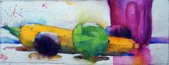 Courgette orange #1 (andremehu) Tags: watercolor watercolour aquarelle aquarela acquarello acuarela stilllife stillleben naturemorte bodegones
