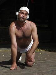 Deventer op stelten (gerben more) Tags: shirtless man hairychest theatre street deventer
