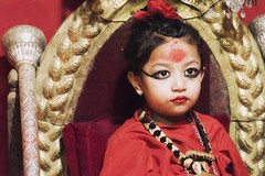 0784 Lalitpur Living Goddes (Hrvoje Simich - gaZZda) Tags: people children girl red portrait goddes lalitpur nepal asia travel